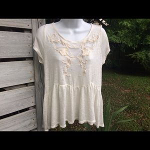 Free People Tops - Free People Mesh Embroidered Boho Blouse